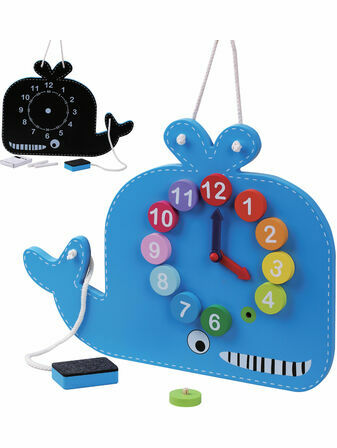 Jumini Wooden Whale Clock and Blackboard 36+ mths