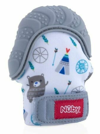 Nuby Teething Mitt Grey - 3+ Mths