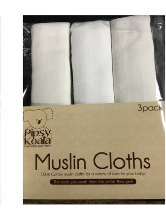 Pipsy Koala Muslin Cloths 3 Pack - White