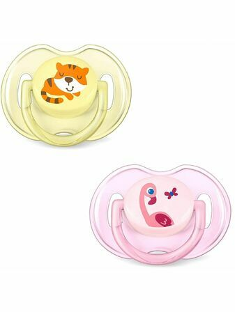 AVENT Silicone Soother Tiger & Flamingo 0-6mths 2 Pack SCF169-26