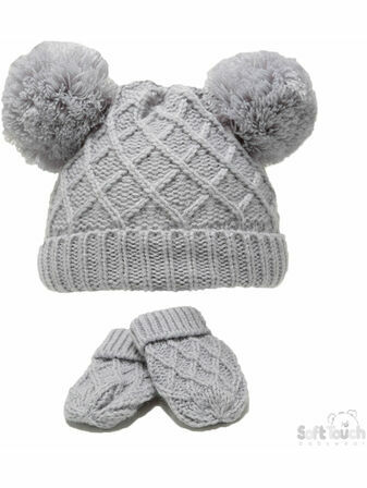Soft Touch Knit Pom-Pom Hat & Mitten Set