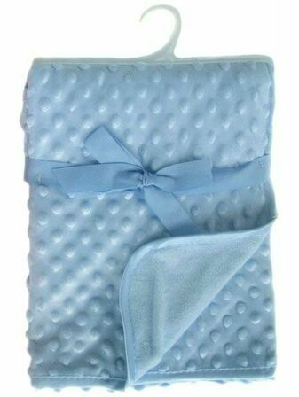 Soft Touch Infant Bubble Embossed Micro Wrap with satin trim Baby Blue