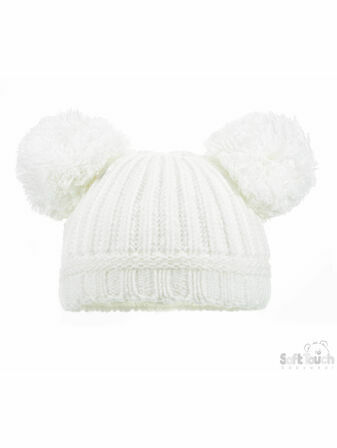 Soft Touch Plain Ribbed Hat Pom-Poms 0-12 mths - Choose your colour