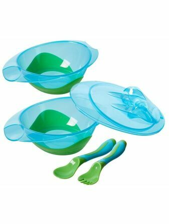 Nuby Feeding Bowl with Travel Lid and Cutlery - Choose your colour