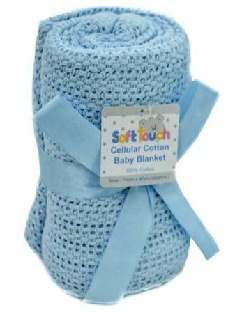 Soft Touch Cellular Cotton Baby Blanket 70 x 100cm - Choose your colour
