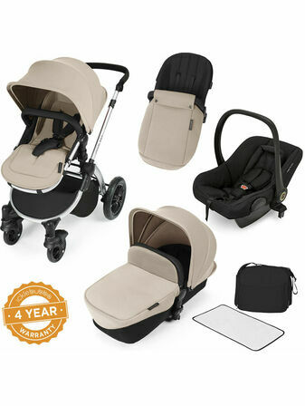 Ickle Bubba Stomp V2 All-in-One Travel System - Sand With Silver Frame