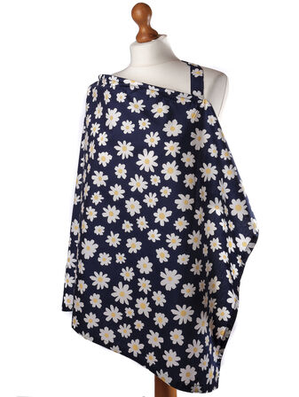 Palm and Pond Breastfeeding Cover - Navy Daisies