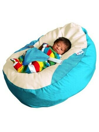 GaGa Soft Turquoise Baby Bean Bag Seat with Adjustable Harness