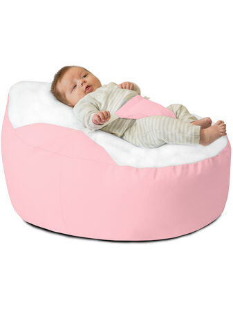 GaGa Soft Pastel Pink Pre-Filled Baby Bean Bag with Adjustable Safety Harness