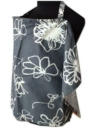 Palm & Pond Grey/White Floral Baby Breastfeeding Cover With Boned Neckline