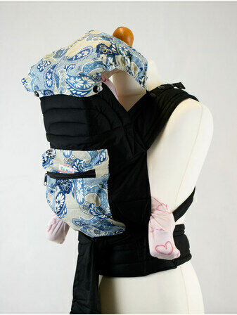 Mei Tai With Hood and Pocket - Blue Paisley