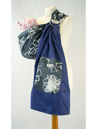 Ring Sling - Grey & White Floral/Blue