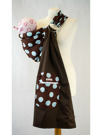 Ring Sling - Brown With Baby Blue Spots