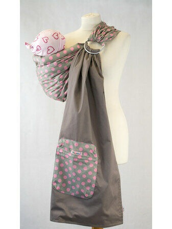 Ring Sling - Grey With Pink Polka Dots