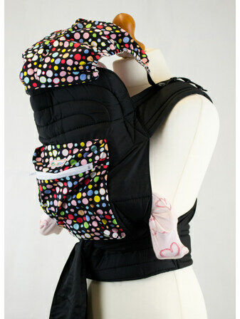 Mei Tai Baby Sling With Hood & Pocket - Bright Multi Spots