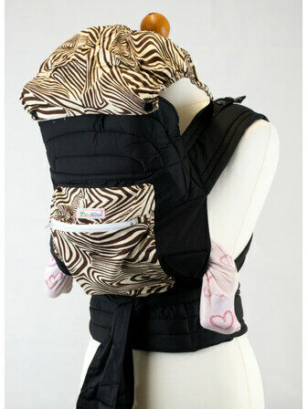 Mei Tai With Hood & Pocket - Brown Zebra Print