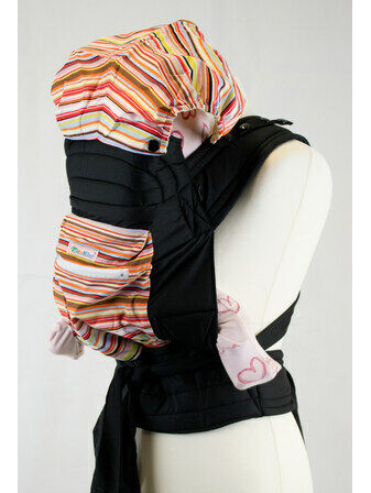 Palm and Pond Mei Tei with Hood & Pocket - Multicoloured Stripes
