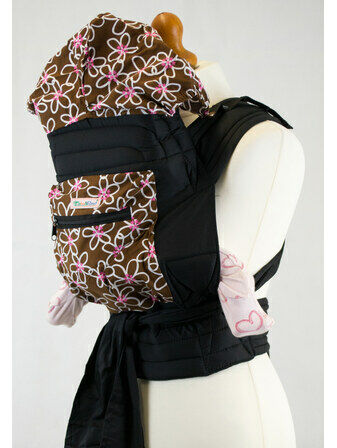 Brown and White Floral Mei Tai Baby Sling With Hood and Pocket