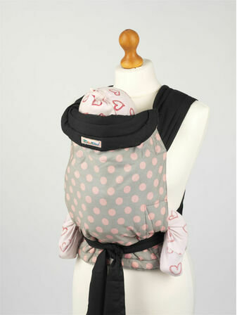 Mei Tai - Grey with Pink Polka Dots
