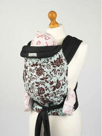 Palm & Pond Mei Tai Baby Sling - Turquoise with Roses Design