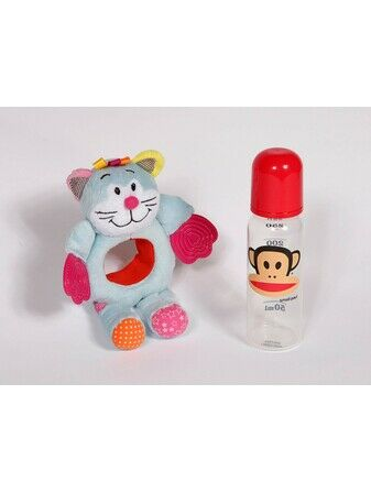 Baby Bottle Buddy Bottle Holder and teether - Cat