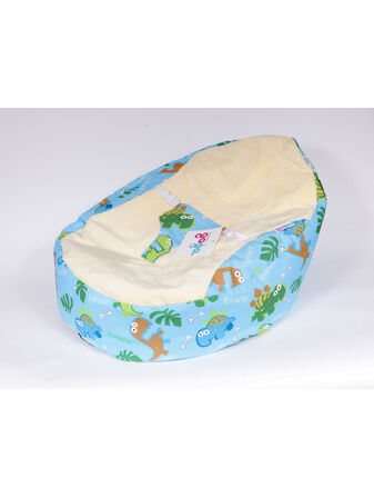GaGa Pre-filled Baby Bean Bag With Luxury Cuddlesoft Seat - Light Blue Dinosaur