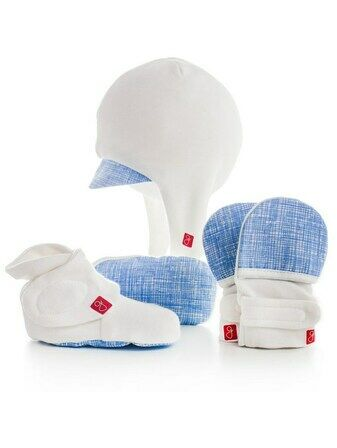 Goumi Newborn Hat, Mitts and Bootie gift set - Sketch Blue