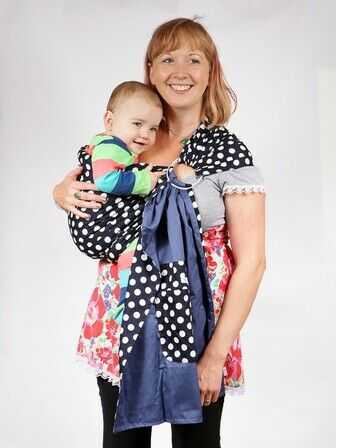Baby Ring Sling Carrier - Blue & White Polka Dot