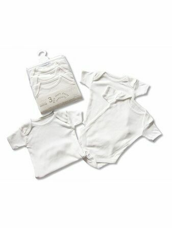 Baby Bodysuit Short Sleeve 3 Pack White 3-6 mths