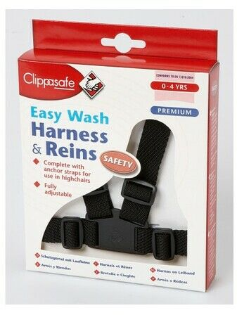 Clippasafe Easy Wash Harness & Reins - Black