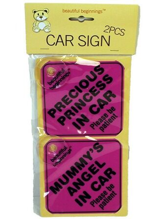 Assorted Girls Car Signs - 2 pk