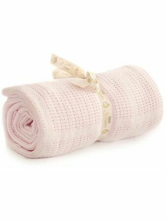 Cot Bed Cotton Cellular Blanket 150 x 100cm