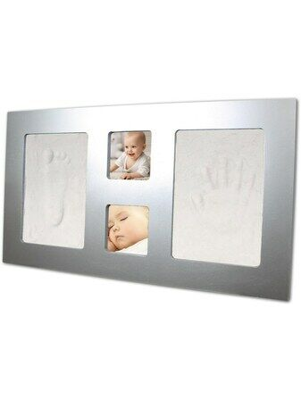 Happy Hands Luxury Large Frame Hand and Foot Print Kit - Silver