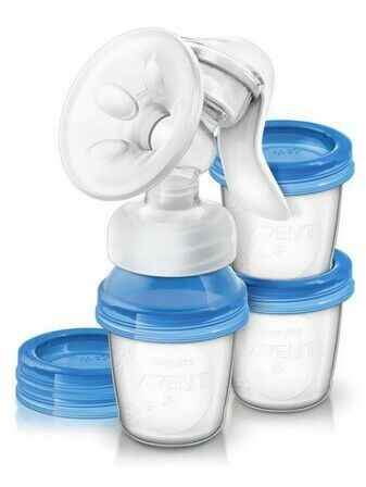 Avent natural Breast Pump with reusable milk storage cups