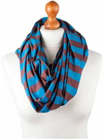 Palm and Pond Nursing Scarf - Blue/Brown Stripe