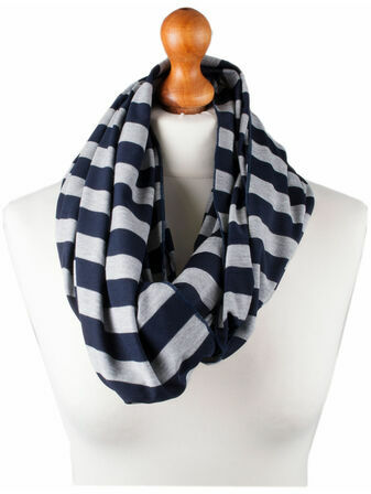 Palm and Pond Nursing Scarf - Blue/grey stripe