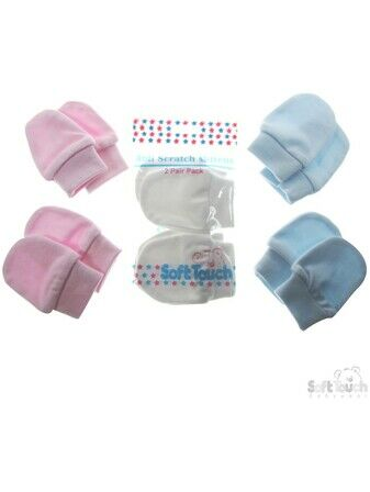 Newborn Anti-scratch Mitts Baby Pink - 2 pairs