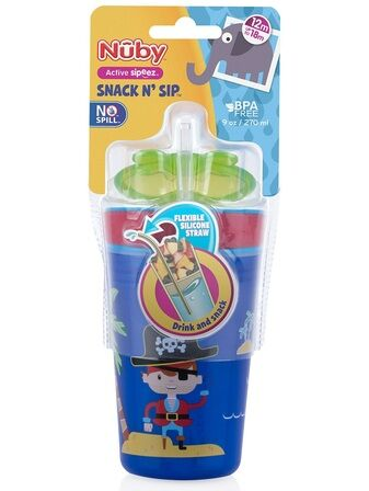 Snack n Sip 270ml sippy cup and snack pot Blue Pirate