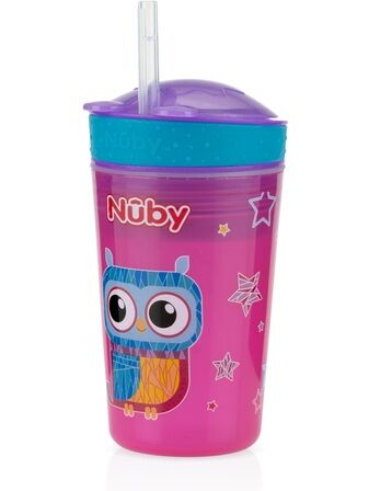 Snack n Sip 270ml sippy cup and snack pot Purple Owl