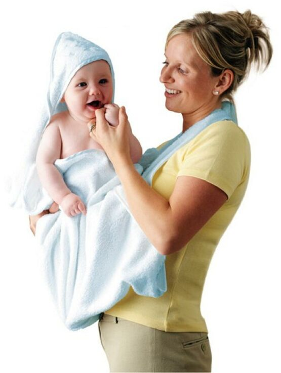Clevamama Extra Large Hooded Baby Towel and Apron Wrap - Blue