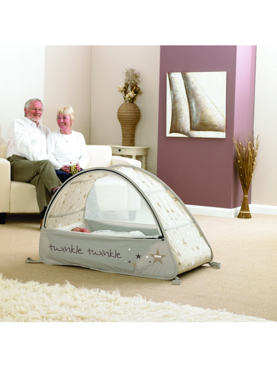 Sun & Sleep Pop-Up Bubble Travel Cot in White with Stars