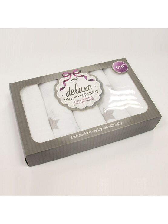 PHP Gift and Baby Muslin Squares Star Set (Pack of 5)