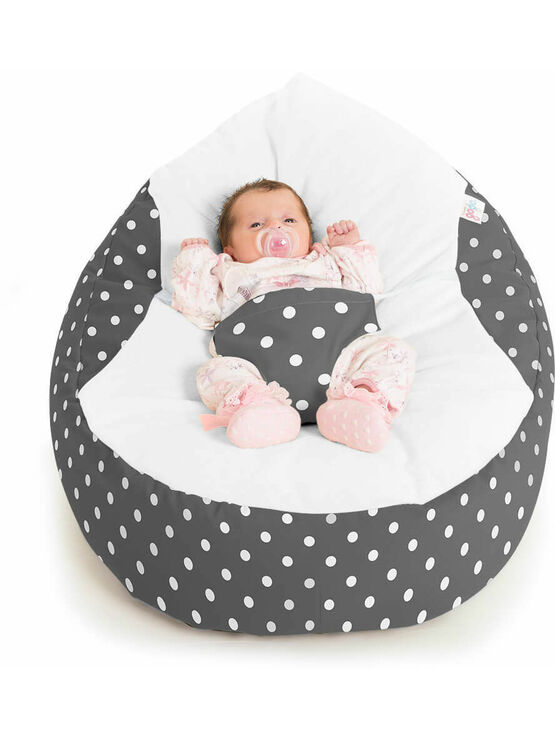 Gaga Cuddlesoft Bright Polka Dot Cream Baby Bean Bags