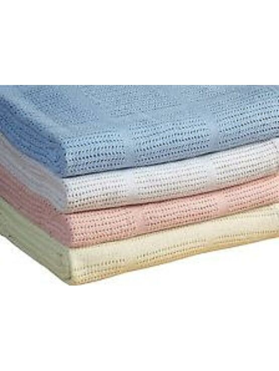 blue Customers First Pack Of 2 Baby Pram Blankets 75 Cm X 100 Cm