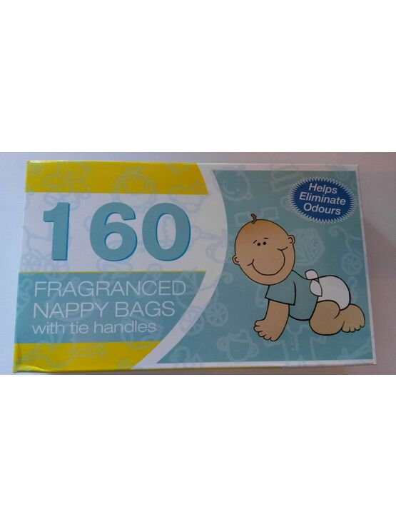 Fragranced Nappy Bags Sacks with tie handles 160 Pack