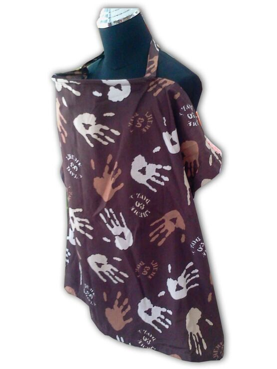Palm & Pond Breastfeeding Cover With Boning  - Hand Print (Brown)