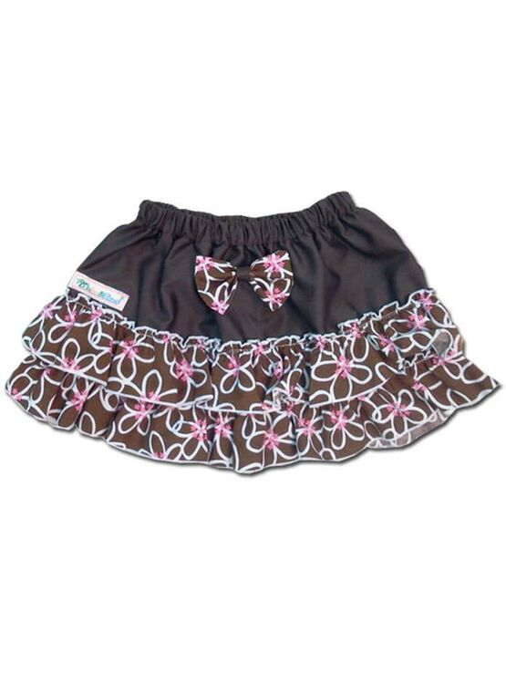100% Cotton Baby RaRa Skirt - Brown/White Floral With Pink Flowers