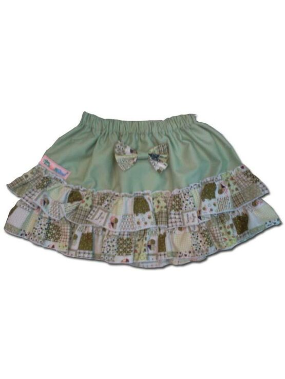 100% Cotton Baby RaRa Skirt - Green with Green Patchwork