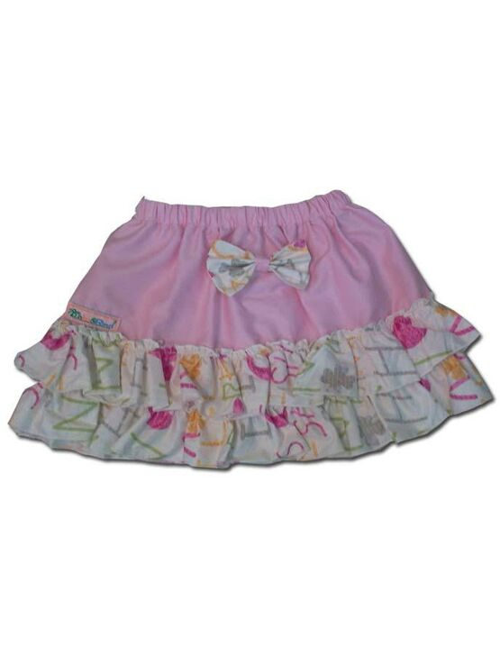 100% Cotton Baby RaRa Skirt - Pink with Funky Letters