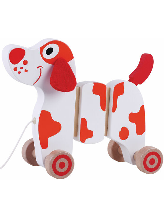 Jumini Walk Along Dog Natural Wood Development Toy